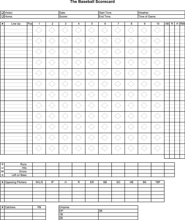 free download baseball score sheets