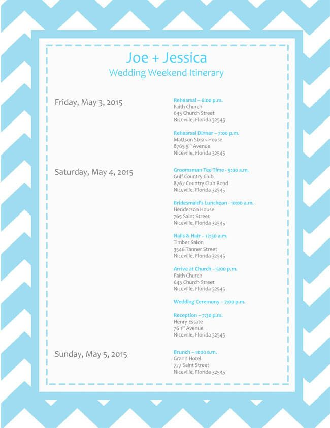 Free Wedding Itinerary Templates For Word And Excel